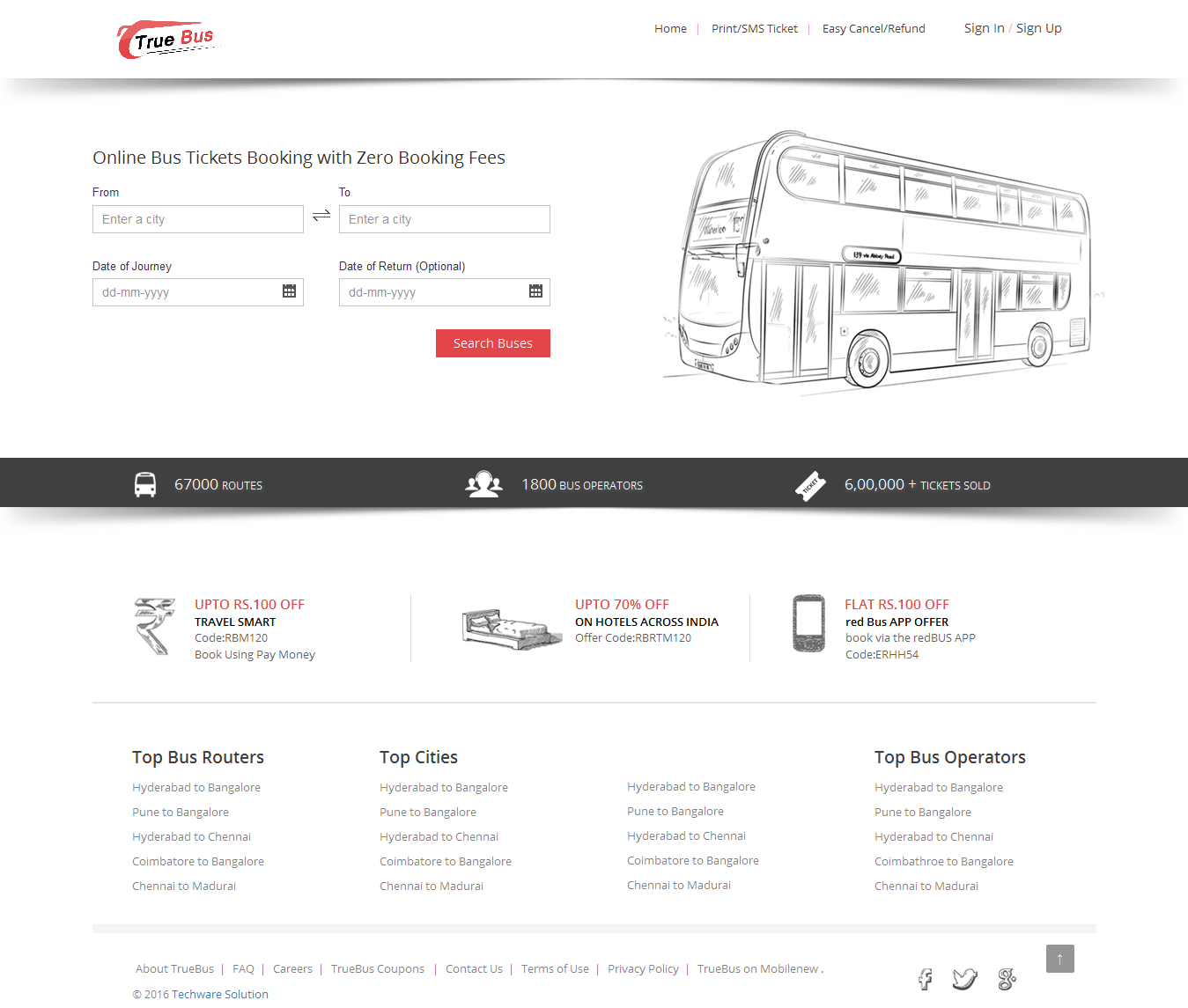Online Bus Ticket Booking And Reservation System  True Bus  Bus Ticket Template