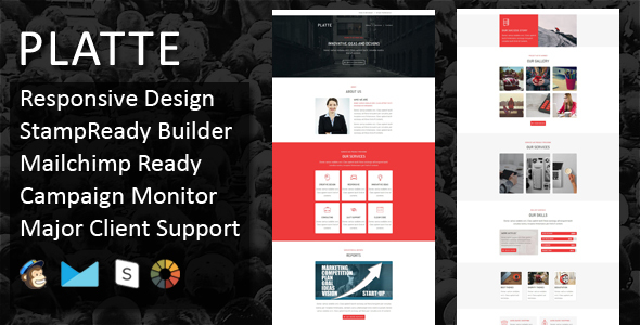 PLATTE - Multipurpose Responsive Email Template + Stampready Online Builder Access