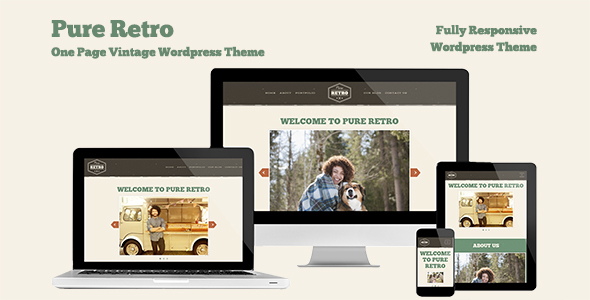 "Retro Portfolio-  ""Pure"" - One Page Vintage WordPress Theme - Personal Blog / Magazine"