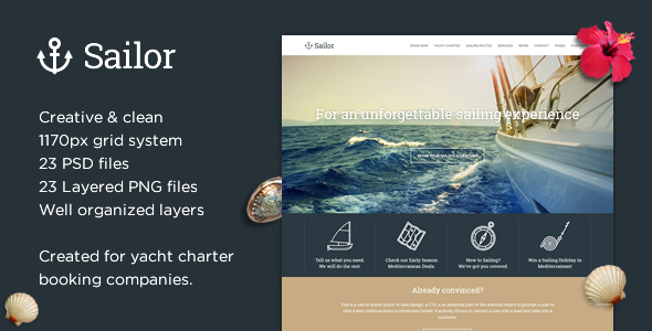 Sailor - Yacht Charter Booking PSD Template - Travel Retail
