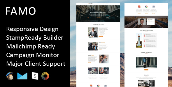 Famo - Multipurpose Responsive Email Template + Stampready Builder