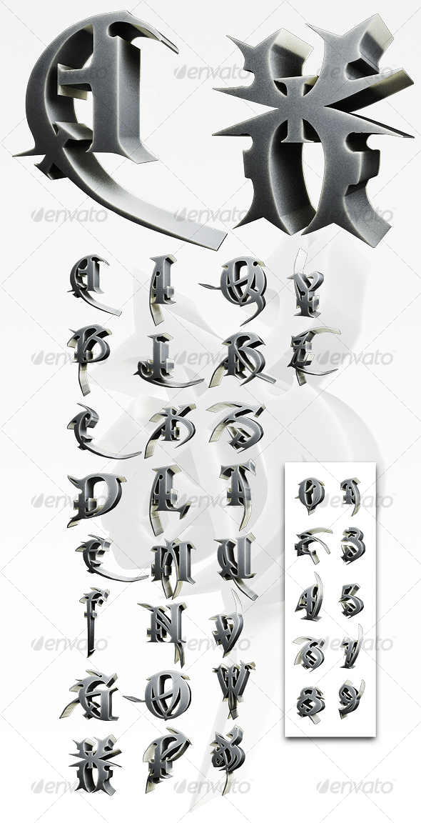 3D Macabre Alphabet/Numbers - 3D Renders Graphics