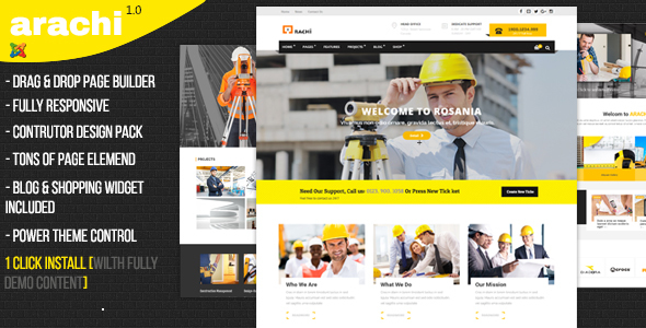 Arachi – Construction, Corporate Business Joomla 3 Responsive Templates