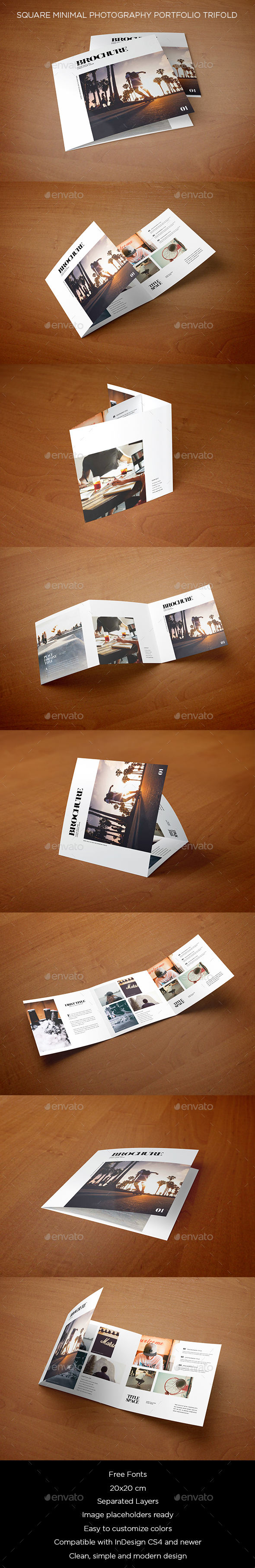 Square Minimal Photography Portfolio Trifold - Brochures Print Templates