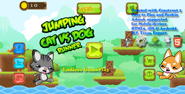 Jumping Cat & Dog Runner -- HTML5 Game, Mobile Vesion+AdMob!!! (Construct-2 CAPX) - CodeCanyon Item for Sale