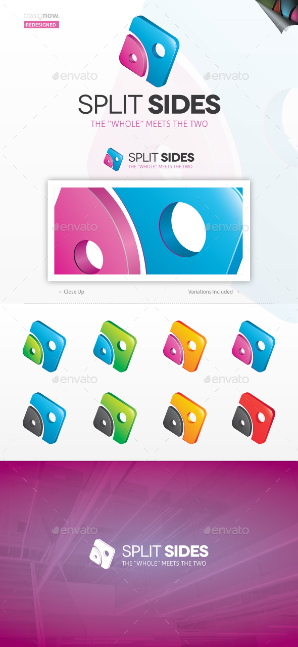 Split Sides Logo - Abstract Logo Templates