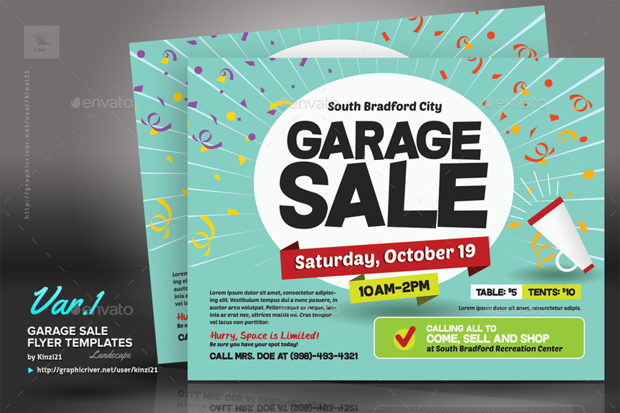 Garage Sale Flyer Templates By Kinzi  Graphicriver