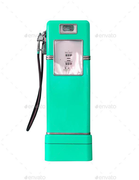 Vintage green fuel pump on white