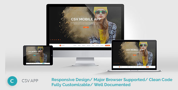 CSVAPP – Responsive Mobile App Landing Page – HTML Template
