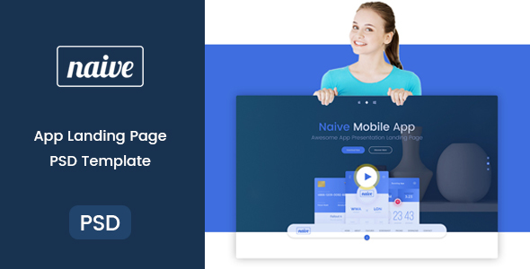 Naive – App Landing PSD Template