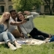 Students Making Selfies On The Phone On Lawn. - VideoHive Item for Sale