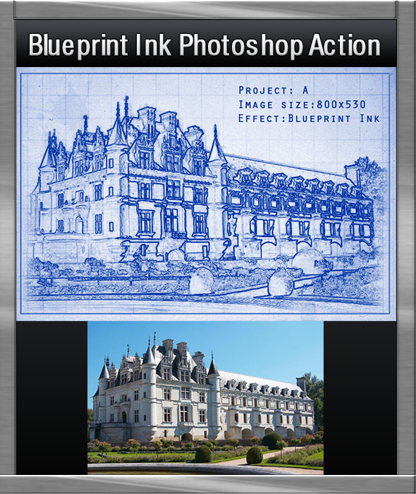 Ink blueprint photoshop action by simna graphicriver ink blueprint photoshop action malvernweather Gallery
