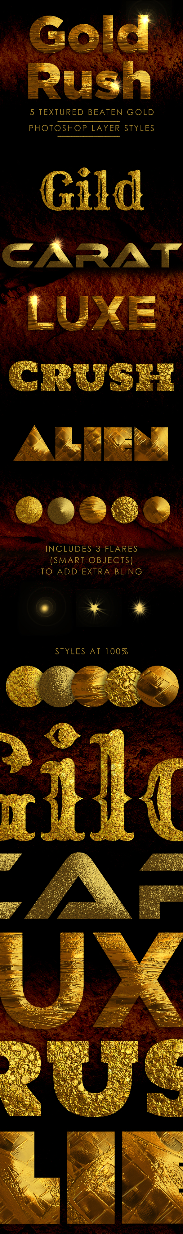 Beaten Gold Layer Styles - Text Effects Styles