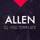 Allen: One Page professional PSD website template DJ, Producer and Musicians - ThemeForest Item for Sale