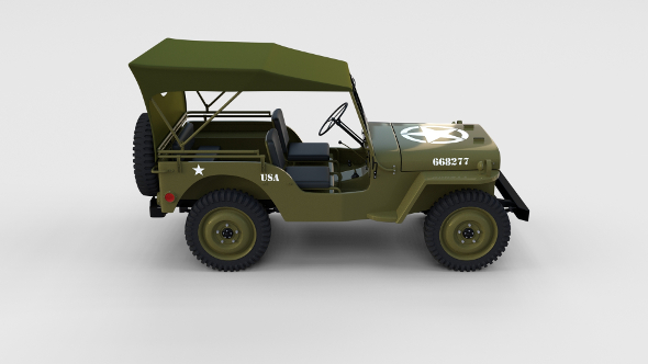 Full (w chassis) Jeep Willys MB Military Top rev - 3DOcean Item for Sale