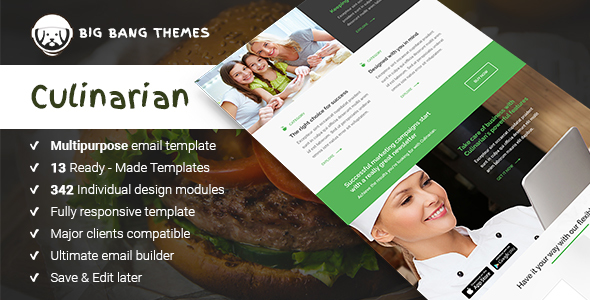Culinarian – Multipurpose Restaurant Email + Builder Access