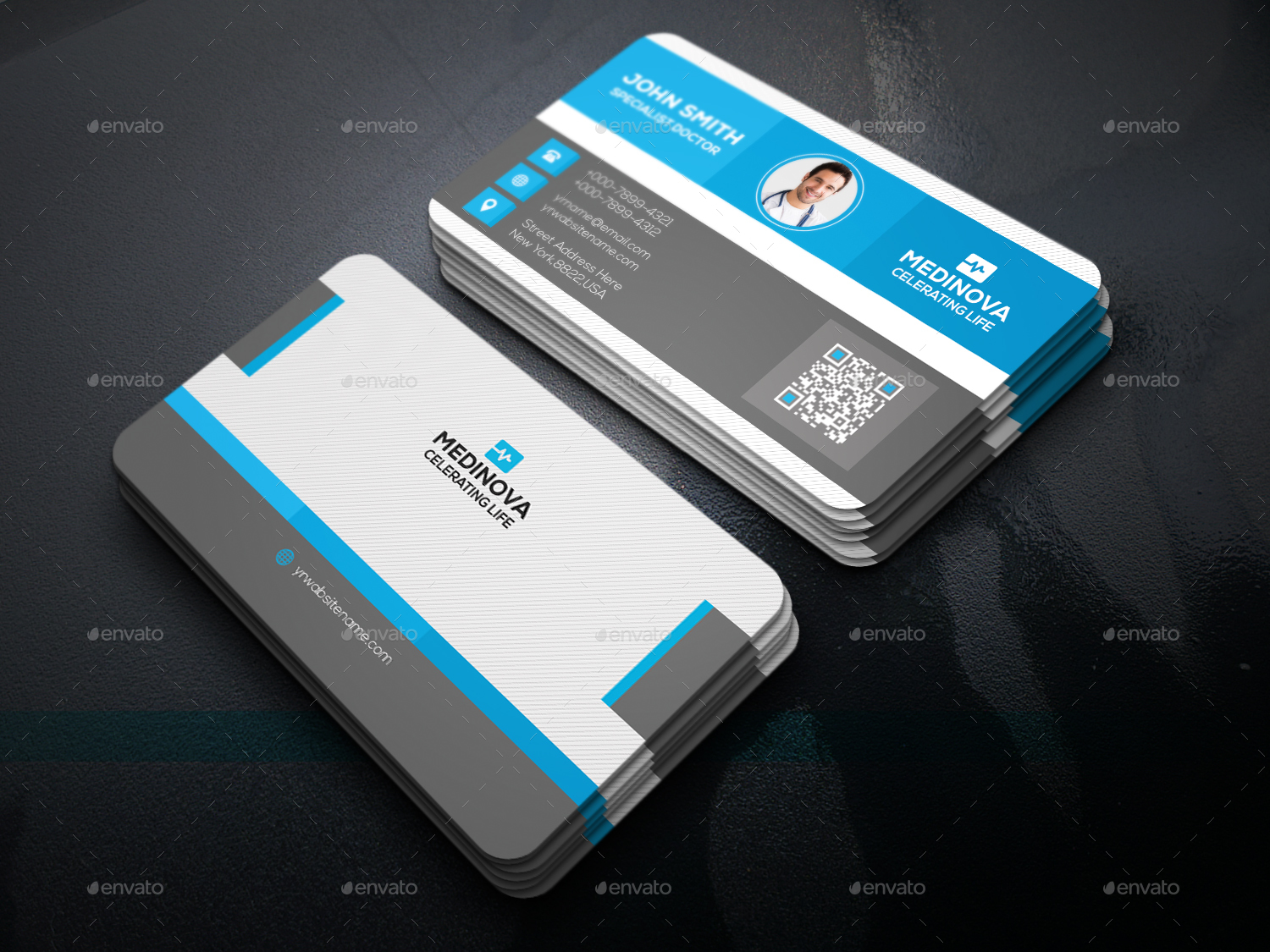 Medical business card by elite designer graphicriver for Physician business cards