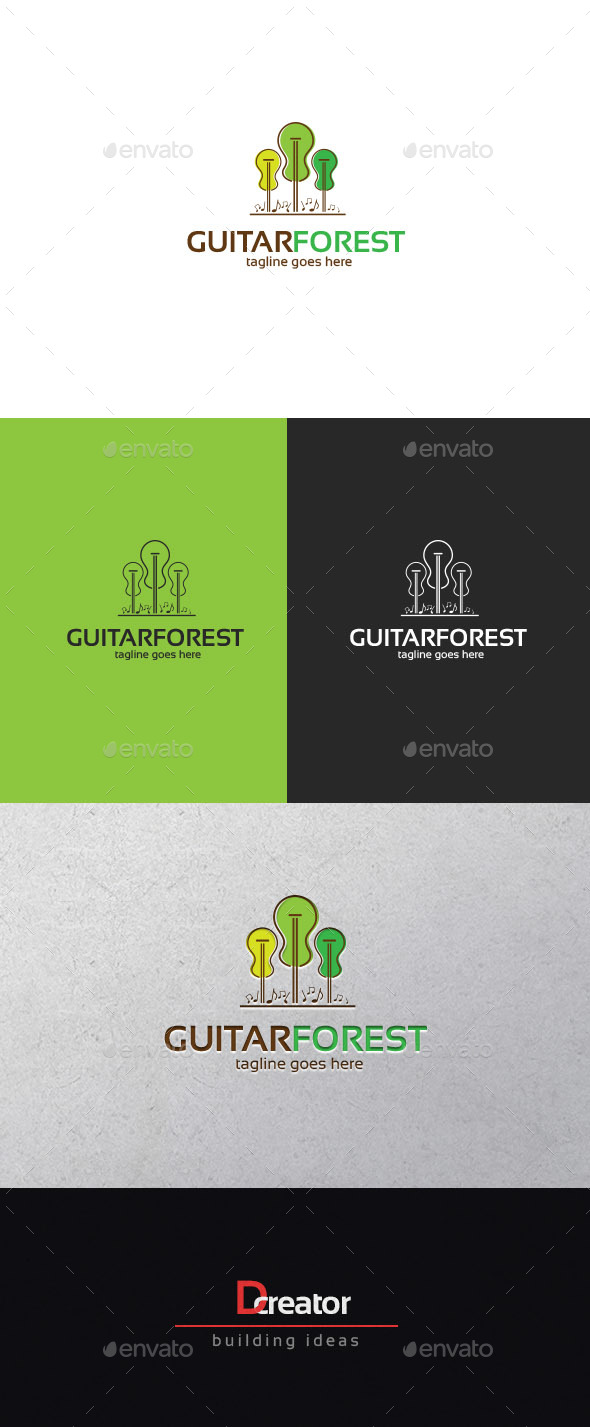 guitar forest logo by stocklogos graphicriver