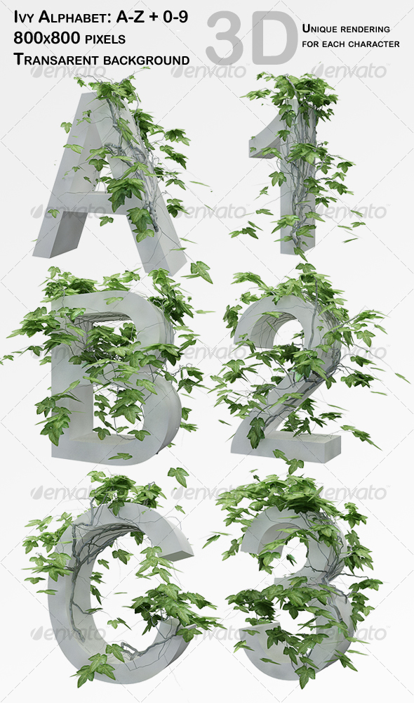 Ivy Alphabet + Numbers - 3D Renders Graphics