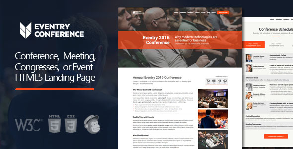 Eventry – Conference & Event HTML5 Landing Page Template