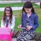 Two Sisters Playing In Yard On Tablets - VideoHive Item for Sale