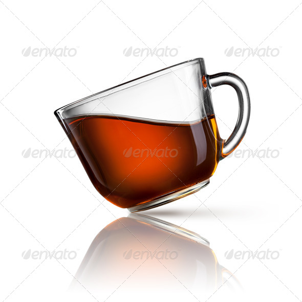 cup of tea isolated on white - Stock Photo - Images