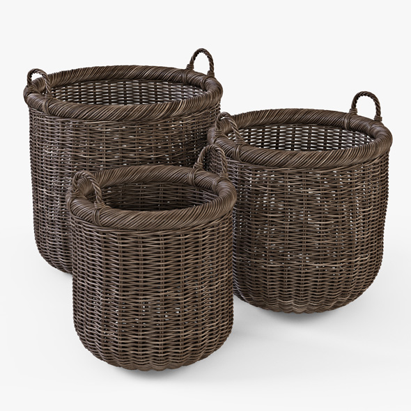 Wicker Basket 07 (Walnut Brown Color) - 3DOcean Item for Sale