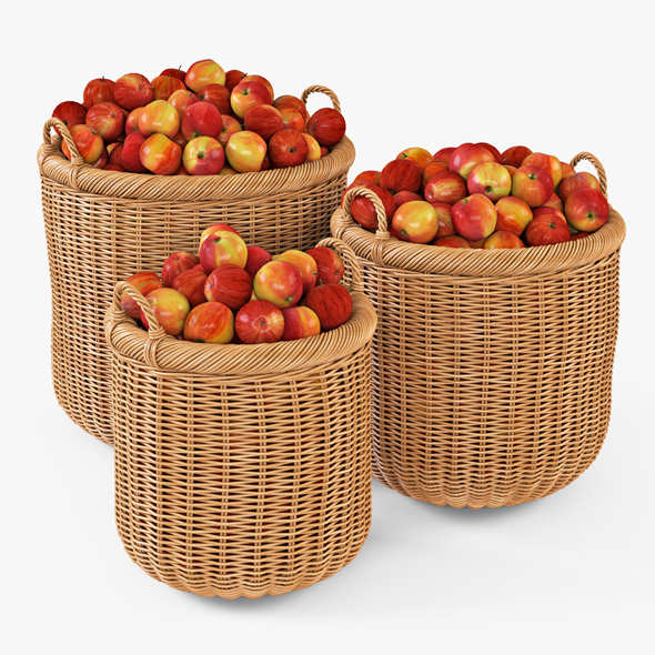 Wicker Basket 07 (Toasted Oat Color) with Apples - 3DOcean Item for Sale