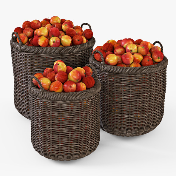Wicker Basket 07 Walnut Brown Color with Apples - 3DOcean Item for Sale