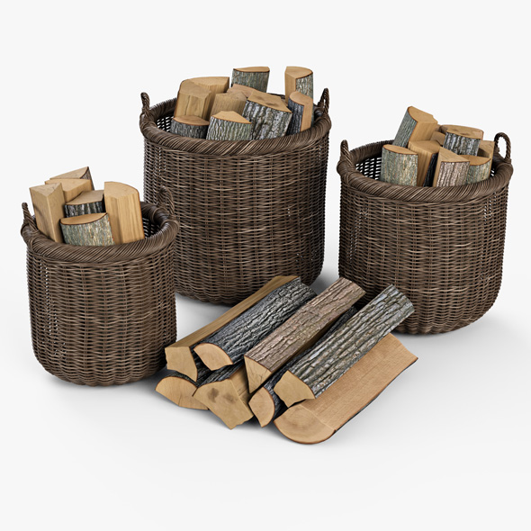 Wicker Basket 07 (Walnut Brown Color) with Firewood - 3DOcean Item for Sale