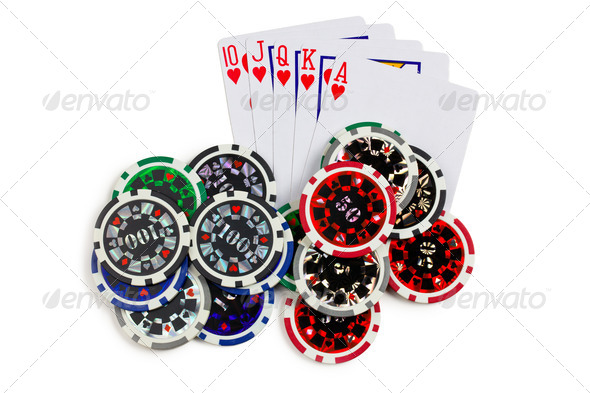 playing cards and poker chips - Stock Photo - Images