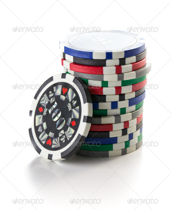 colorful poker chips - Stock Photo - Images