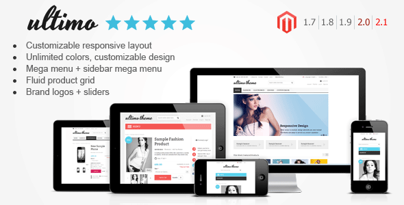Ultimo - Fluid Responsive Magento Theme - Ultimo is a premium Magento theme with advanced admin module. It's extremely customizable and fully responsive. It can be used for any type of store.