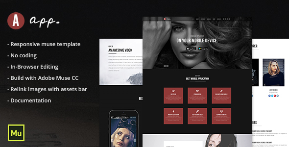 App - Responsive App Template - Muse Templates