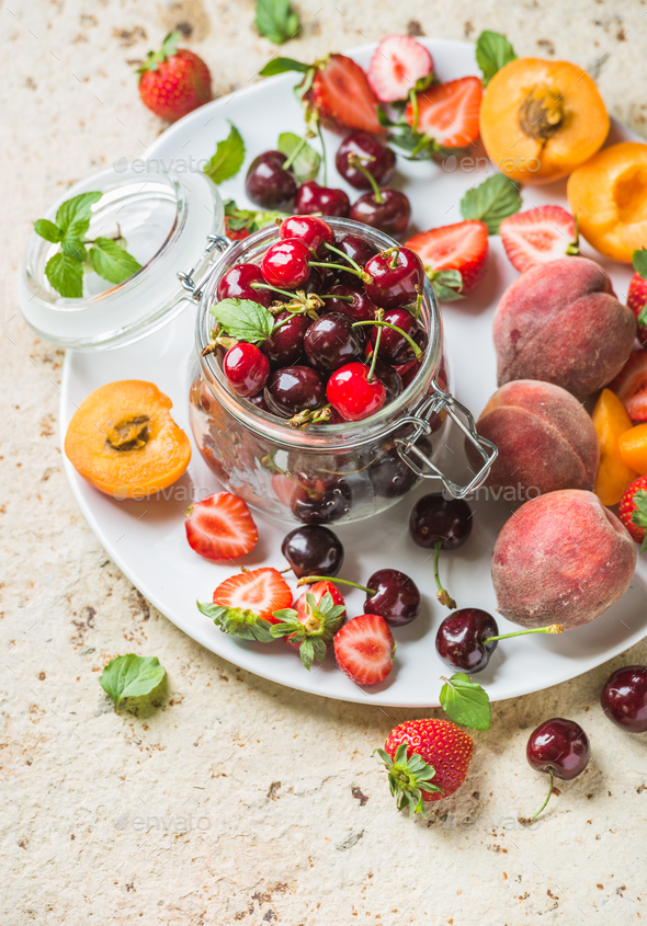Healthy summer fruit variety - Stock Photo - Images
