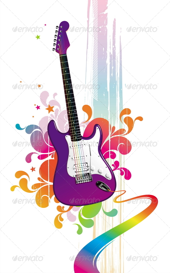 Abstract Illustration With Guitar - Objects Vectors