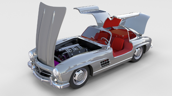Fully Modelled/Rigged Mercedes 300SL Gullwing rev - 3DOcean Item for Sale