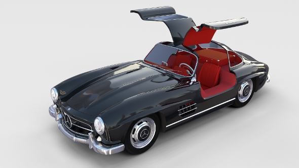 Rigged Mercedes 300SL Gullwing with Interior rev - 3DOcean Item for Sale