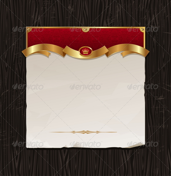 Vintage Golden Frame With Paper Banner - Backgrounds Decorative