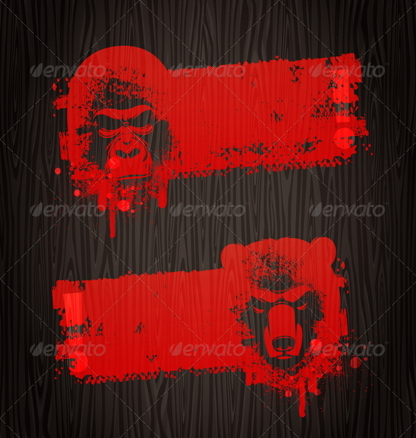 Grunge Banners With Animal Heads - Decorative Symbols Decorative