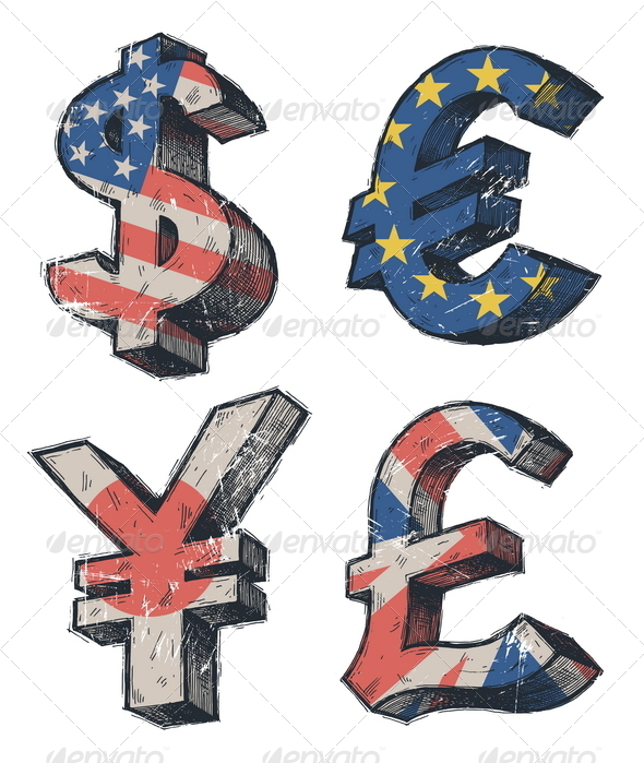 Hand Drawn World Currencies Signs - Business Conceptual
