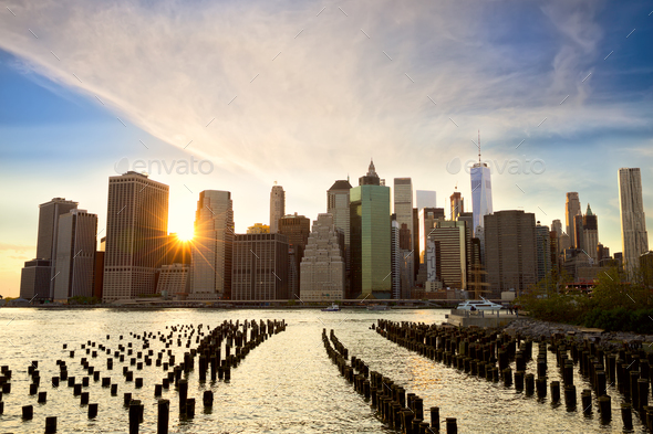 Lower Manhattan at sunset - Stock Photo - Images
