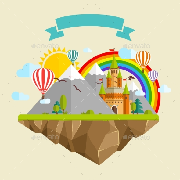 Flying Island With Fairy Tale Castle, Balloons - Nature Conceptual