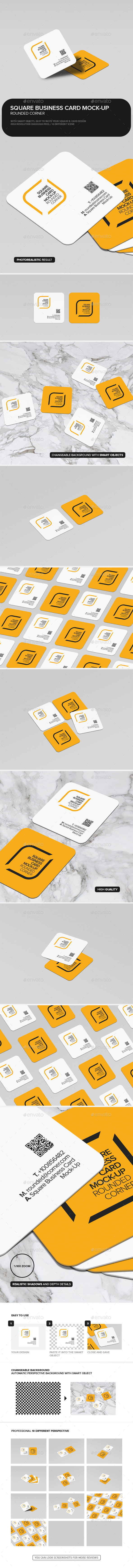 square business card mock up rounded corner by trgyon