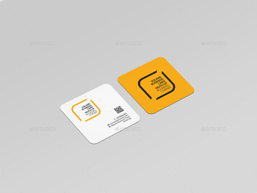 Square Business Card Mock-Up Rounded Corner by Trgyon | GraphicRiver