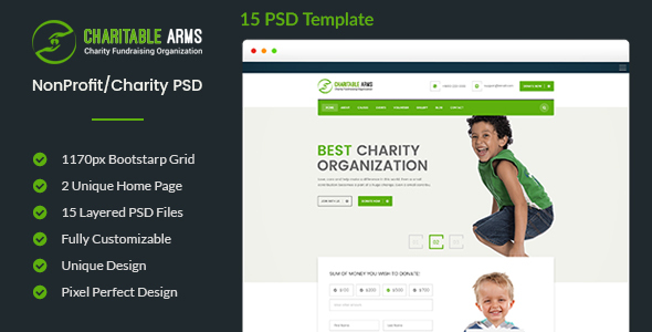 Charitable Arms - Nonprofit/Charity Organization PSD Theme - Nonprofit PSD Templates