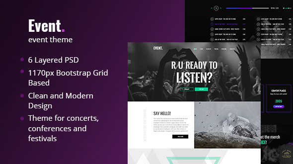 Event – Creative and Modern One Page PSD Template for Events