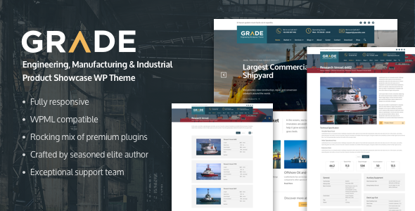 Grade – Engineering, Manufacturing & Industrial Product Showcase WP Theme