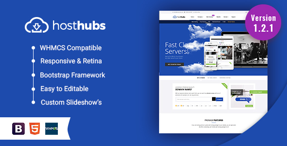 HostHubs | Responsive WHMCS Web Hosting, Domain, Technology WordPress Theme