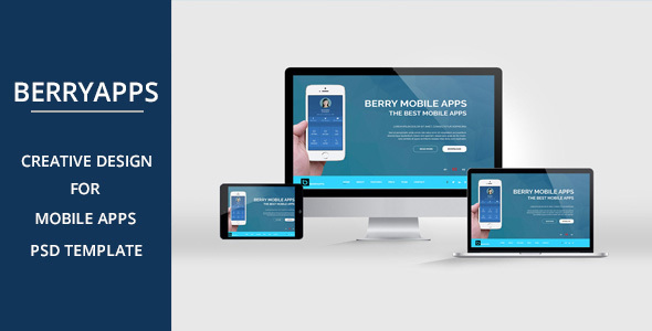 BERRYAPPS – Mobile App Landing Page – PSD Template